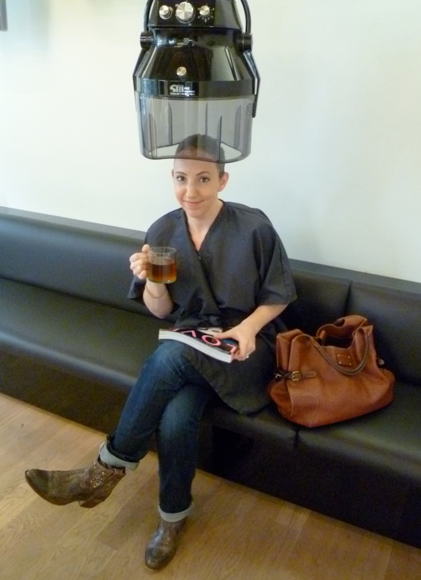 Waiting for the color to set with a cup of delicious Aveda tea.