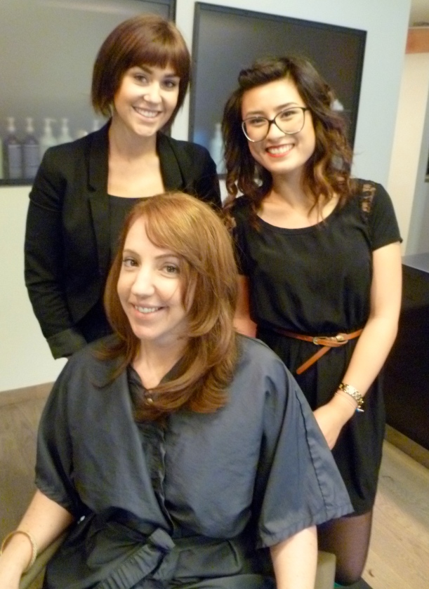 Olivia: colorist, Valerie: stylist, mugging with me to show off their handiwork. They were so fun, and I'm really happy with both the color and cut!