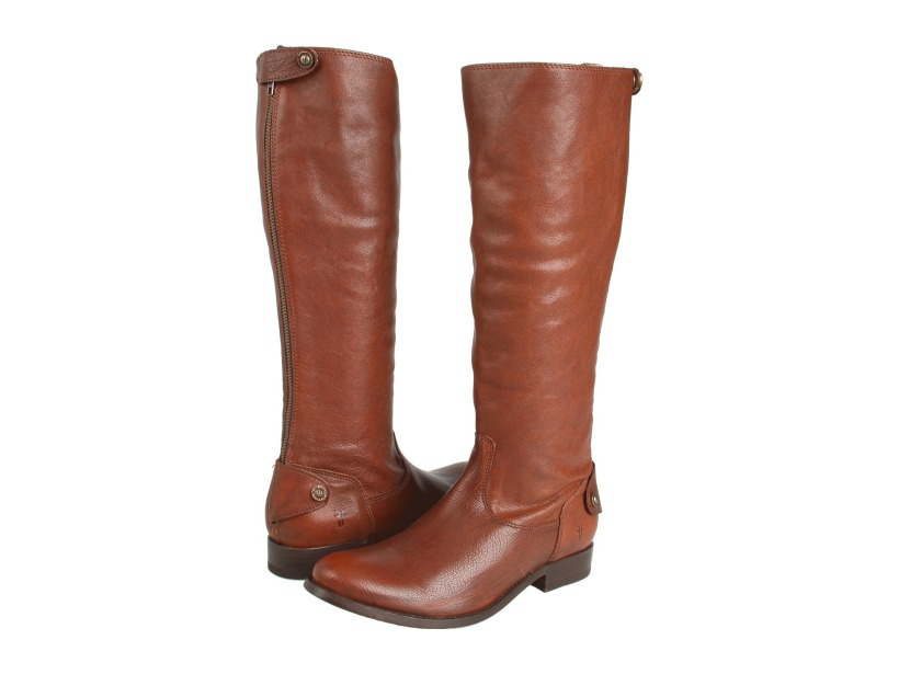 Frye's Melissa Button Back Zip in Brown Antique Soft Full Grain Leather.