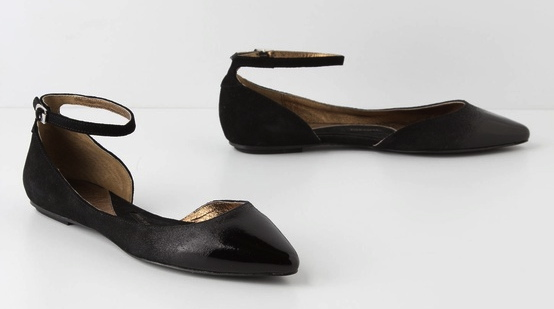 Glossed D'Orsay Skimmers available at Anthropologie. The ankle strap is perfect.