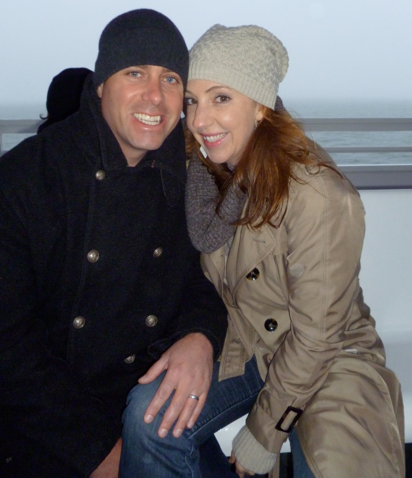 Hubs and I in September, 2012, on the ferry to Alcatraz for the night tour.