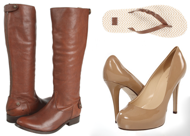Boots, Flips, and Pumps. All available on Zappos.